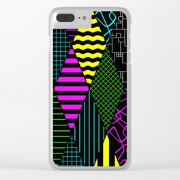 Bright Multi Patterned Diamond Collage Clear iPhone Case
