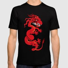 Red Dragon with Teal Mens Fitted Tee Black MEDIUM