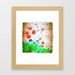 Orange flowers , textured  Framed Art Print