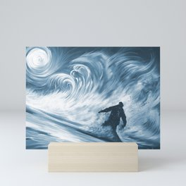 'Snowboarder in 100km Blower' Mini Art Print