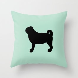 Black Pug (Mint) Throw Pillow