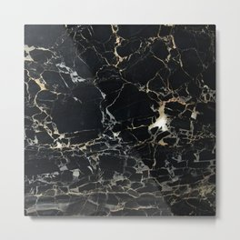 Marble Gold, Black and Silver Metal Print