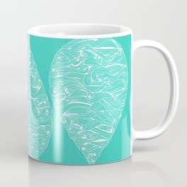 Water Drop – White on Turquoise Coffee Mug