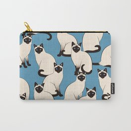 Siamese Cats crowd on blue Carry-All Pouch