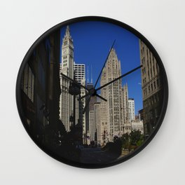 Michigan Avenue Sunshine and Shadows (Chicago Architecture Collection) Wall Clock