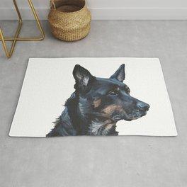 Australian Kelpie portrait dog art from an original painting by L.A.Shepard Rug