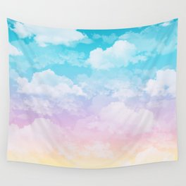 Little Fluffy Clouds Pastel Sky Wall Tapestry