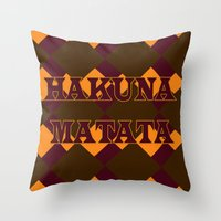 hakuna Throw Pillows featuring Hakuna Matata by ParadiseApparel