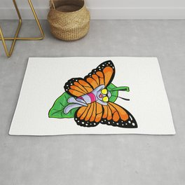 Butterfly at Sunbathing with Sunglasses Rug