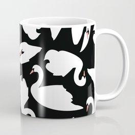 White Swans on Black seamless pattern Coffee Mug