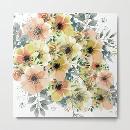 Abstract Watercolor, Yellow and Peach, Floral Watercolor Prints Metal Print