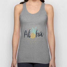 Aloha lettering and pineapple Unisex Tank Top