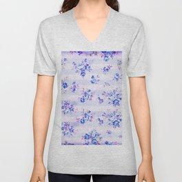 Vintage bohemian navy blue lavender floral stripes Unisex V-Neck