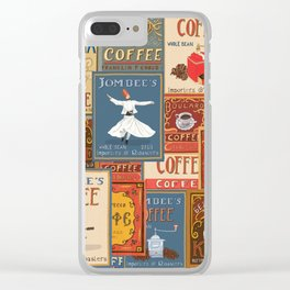 Vintage Coffee Labels Collage Clear iPhone Case