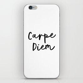 Carpe Diem black and white monochrome typography poster design home wall decor canvas iPhone Skin