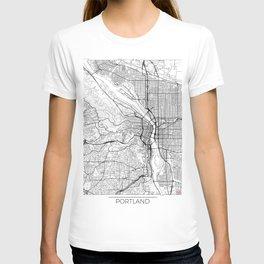 Portland Map White T-shirt