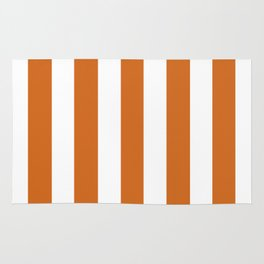 Cocoa brown - solid color - white vertical lines pattern Rug