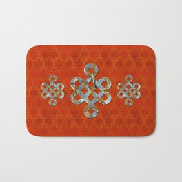 Decorative Marble and Gold Endless Knot symbol Bath Mat