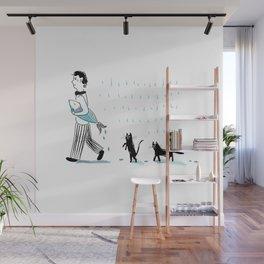 Man, fish, cats Wall Mural