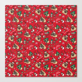 Christmas pattern with pugs Canvas Print