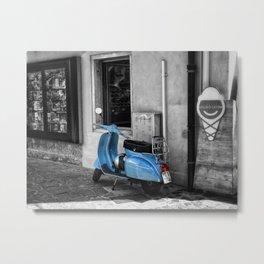 Blue Vespa in Venice Black and White Color Splash Photography Metal Print