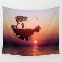 sister Wall Tapestries featuring LANDSCAPE - Solitary sister by valzart