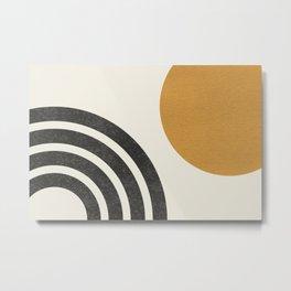 Mid century modern landscape - Sun & Rainbow  Metal Print