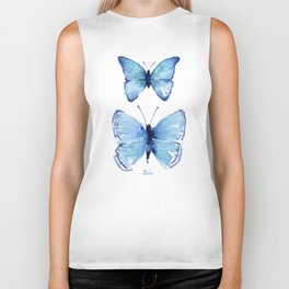 Two Blue Butterflies Watercolor Biker Tank