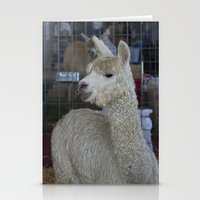 alpaca Stationery Cards featuring White Alpaca by Deborah Janke