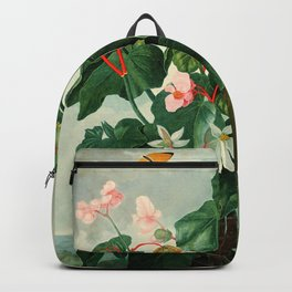 Pink Floral The Oblique-Leaved Begonias : Temple of Flora Backpack