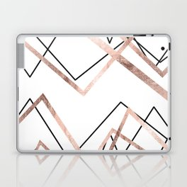 Rose Gold White Linear Triangle Abstract Pattern Laptop & iPad Skin