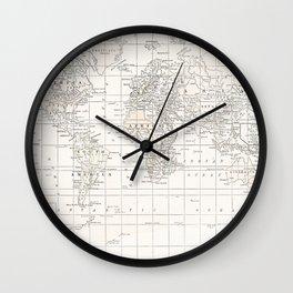 Cream Map Wall Clock