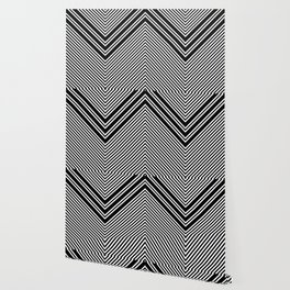 Back and White Lines Minimal Pattern No.1 Wallpaper