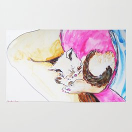 July kitty in Rachael's Lap watercolor by CheyAnne Sexton Rug