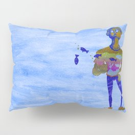 Orange guy diving in watercolor Pillow Sham