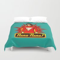 robin williams Duvet Covers featuring Nanu Nanu  |  Mork  |  Robin Williams Tribute by Silvio Ledbetter