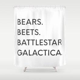Bears. Beets. Battlestar Galactica. Shower Curtain