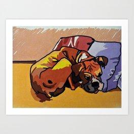 Whimsical Boxer Dog Illustration Art Print
