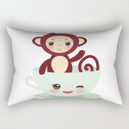 Cute Kawai pink cup with brown monkey Rectangular Pillow
