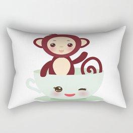 Cute Kawai pink cup with brown monkey Rectangular Pillow