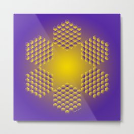 Purple and Gold Hexa Metal Print