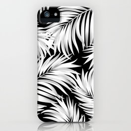Palm Tree Fronds White on Black Hawaii Tropical Décor iPhone Case