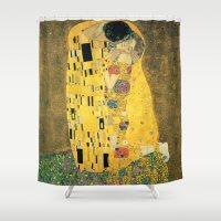gustav klimt Shower Curtains featuring The Kiss - Gustav Klimt by BravuraMedia