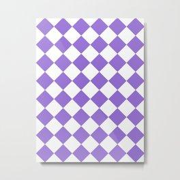 Large Diamonds - White and Dark Pastel Purple Metal Print