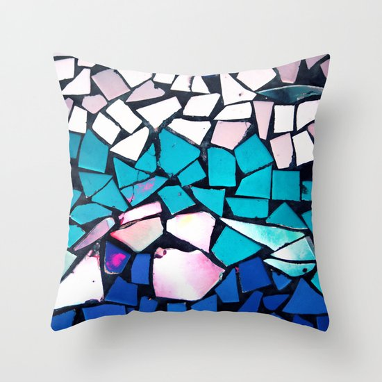 Turquoise and blue mosaic-(photograph) Throw Pillow