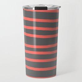 Living Coral Stripes on Gray Travel Mug