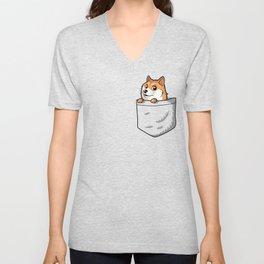 Pocket Shibe (Shiba Inu, Doge) Unisex V-Neck