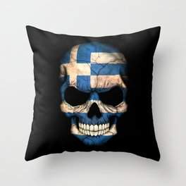 Dark Skull with Flag of Greece Throw Pillow