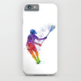 Lacrosse Girl Colorful Watercolor Sports Art Gift iPhone Case