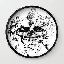 Skull and Roses Tattoo Design Wall Clock